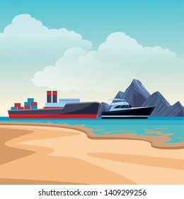 Cargo ship with container boxes steam pipes painted black and red and yatch beach shore background vector illustration graphic design