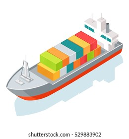 Cargo ship or container isolated on white. Multi-purpose vessel. Chemical or product tanker. Custom high speed picker boat. Carries cargo, goods, and materials from one port to another. Vector