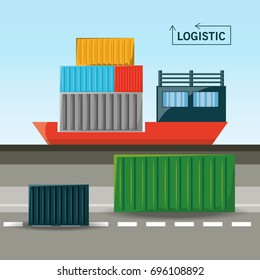 cargo ship with container logistic