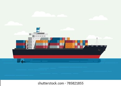 Cargo ship container in the ocean transportation, shipping freight transportation. illustration vector