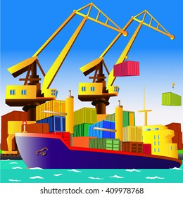 Cargo ship with containers in sea port, with cranes on the background. Vector illustration. All objects are located on separate layers.