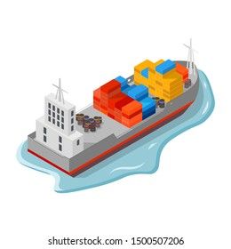 Cargo ship, freighter with containers, boxes and drums, barrels. Sea delivery and freight insurance services, international shipping, export and import of goods concept. Vector isometric illustration.