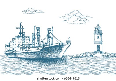 "Cargo ship ""Frio Forwin"", reefer. ""Tokarevskiy lighthouse"" in Vladivostok. Clouds in the sky.  Sea. It can be used on the web site or in the design of postcards, leaflets and other printed products"