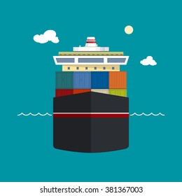 Cargo Ship, Front View of a Cargo Sea Vessel, Container Truck Transports Containers , Vector Illustration