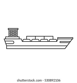 Cargo ship icon. Outline illustration of cargo ship vector icon logo isolated on white background. Thin line illustration for any web design
