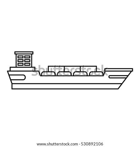 cargo ship icon outline illustration 450w 530892106 cargo ship icon outline illustration cargo stock vector (royalty
