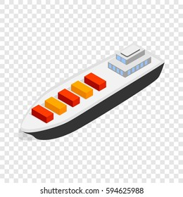 Cargo ship isometric icon 3d on a transparent background vector illustration