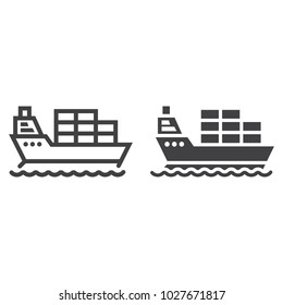 Cargo ship line and glyph icon, logistic and delivery, transport sign vector graphics, a linear pattern on a white background, eps 10.