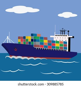 Cargo ship loaded with containers sailing vector illustration