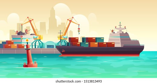 Cargo ship loading in city port. Cranes on dockside, pier unloading shipping containers from freight vessel to shore. Goods transportation, delivery with maritime transport cartoon vector background