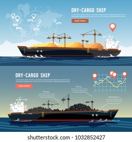 Cargo ship logistics and transportation infographic concept. Tanker cargo ship transports coal sand.