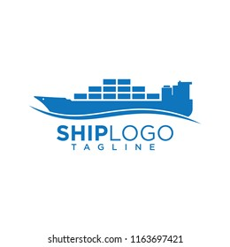 Cargo ship logo for international marine export or import goods and freight transportation trade company, commercial container boat with water sea wave icon blue vector design