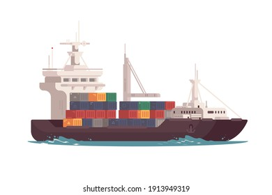 Cargo ship in ocean vector illustration. Freight transport with loaded container ship flat style. Import and export. International delivery concept. Isolated on white background