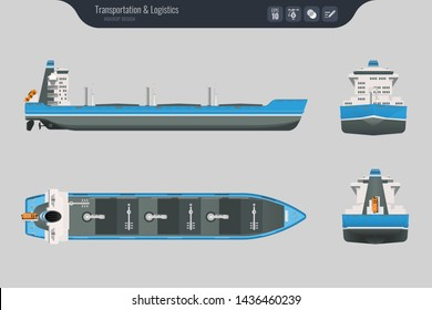 Cargo ship on a grey background. Top, side and front view. Container transport in flat style. Vector illustration