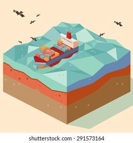 cargo ship in open sea. vector illustration