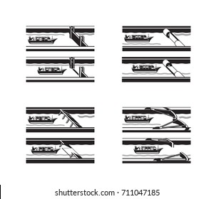Cargo ship passing different sea barriers - vector illustration
