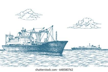 """Cargo ship, reefer """"Forward"""". Vector illustration"""