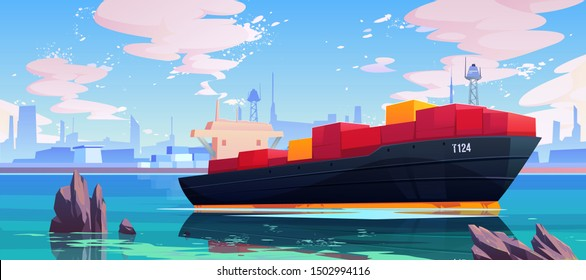 Cargo ship in sea port dock, industrial vessel with containers freight in harbor shipyard, goods import and export maritime logistic service Commercial ocean transportation Cartoon vector illustration