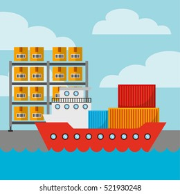 cargo ship with shelves and carton boxes. export and import concept. colorful design. vector illustration