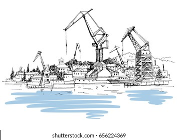 Cargo, ship, shipyard, sketch. Hand drawn landscapes with views of the sea and ships. Crimea. Travels. Tourism.