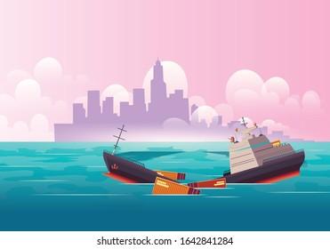 Cargo Ship Sinking In Crash Illustration