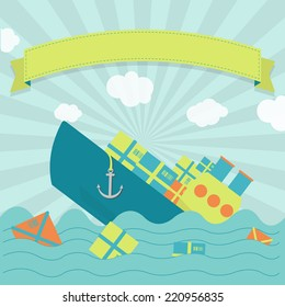 Cargo ship sinking. Cute cargo ship sinking. Packages and goods floating on the sea. Blank ribbon for insert text.