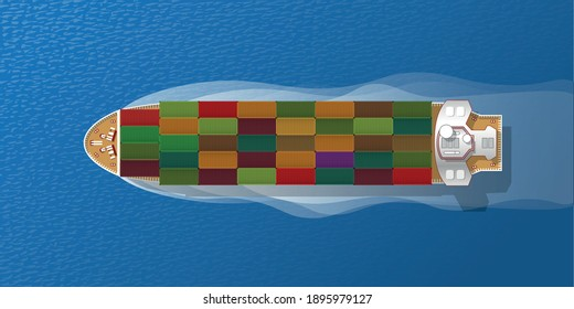 Cargo Ship. Top view. Sea transportation logistic. Merchant Marine. Sea Freight. Maritime shipping. Container ship. Cargo to harbor. View from above.