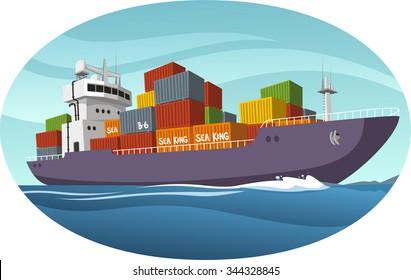 Cargo Ship vector cartoon illustration