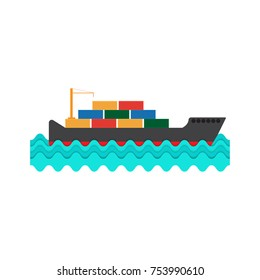 Cargo ship, vector illustration.