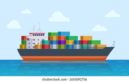 Cargo ship. Vessel port, export or import tanker shipping. International sea logistic. Marine transport and delivery vector illustration