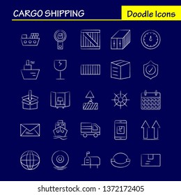 Cargo Shipping Hand Drawn Icon for Web, Print and Mobile UX/UI Kit. Such as: Shield, Cargo, Security, Delivery, Mobile, Cell, Cargo, Box, Pictogram Pack. - Vector