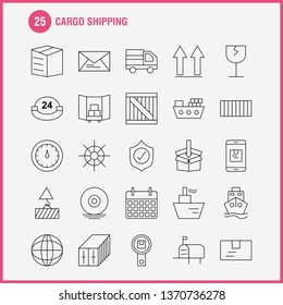 Cargo Shipping Line Icon for Web, Print and Mobile UX/UI Kit. Such as: Shield, Cargo, Security, Delivery, Mobile, Cell, Cargo, Box, Pictogram Pack. - Vector