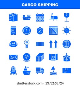 Cargo Shipping Solid Glyph Icon for Web, Print and Mobile UX/UI Kit. Such as: Shield, Cargo, Security, Delivery, Mobile, Cell, Cargo, Box, Pictogram Pack. - Vector