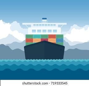 Cargo Shipping Transporting Flat Vector Illustration