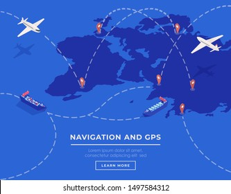 Cargo shipping web banner vector template. Commercial transportation industry website landing page UI layout. International logistics, navigation webpage, homepage cartoon concept with text space