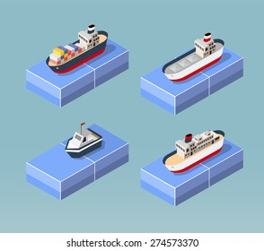 Cargo ships in perspective. Set design for the boats.