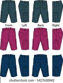 cargo shorts for men vector template