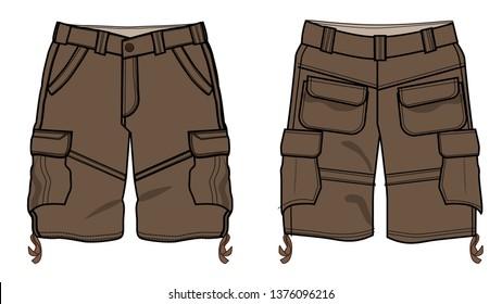 cargo shorts vector template