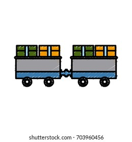cargo train with cardboard boxes side view container