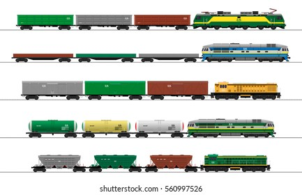 Cargo train cars. Railway carriage. vector. set.