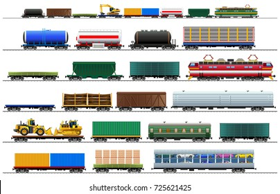 Cargo train cars. Railway carriage set. Color vector isolated on white background illustration. Silhouette