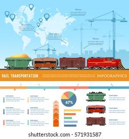 Cargo train global transport logistics presentation template. Freight trains concept. Cargo transportation by train transportation of oil gas toxic chemicals infographics