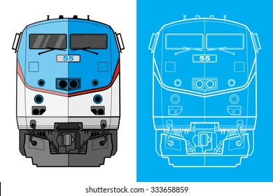 Cargo train illustration front view