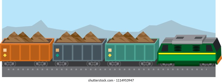 Cargo train loaded with ore or raw materials. Vector illustration
