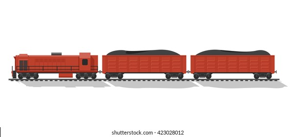 Cargo train, wagons with coal, transportation concept illustration