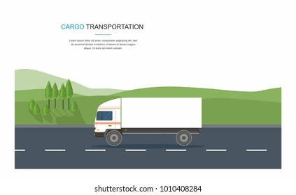 Cargo Transporation Semi-truck on the road on city background