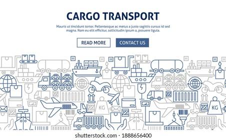 Cargo Transport Banner Design. Vector Illustration of Outline Template.