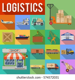 Cargo Transport, Packaging, shipping, delivery and logistics flat Icons Set with Truck, air cargo, Train, Shipping with Long Shadows. isolated vector illustration