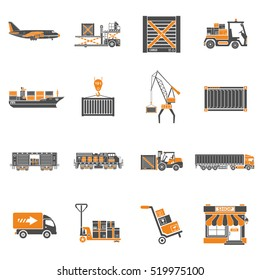 Cargo Transport, Packaging, shipping and logistics two color Icon Set such as Truck, air cargo, Train, Shipping. Isolated vector illustration.