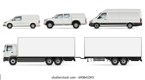 Cargo transport vector mock-up for advertising, corporate identity. Isolated cars template on white. Vehicle branding mockup. All layers and groups well organized for easy editing and recolor.